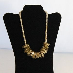 Jewelry - Unique Gold Tone Necklace with Rings